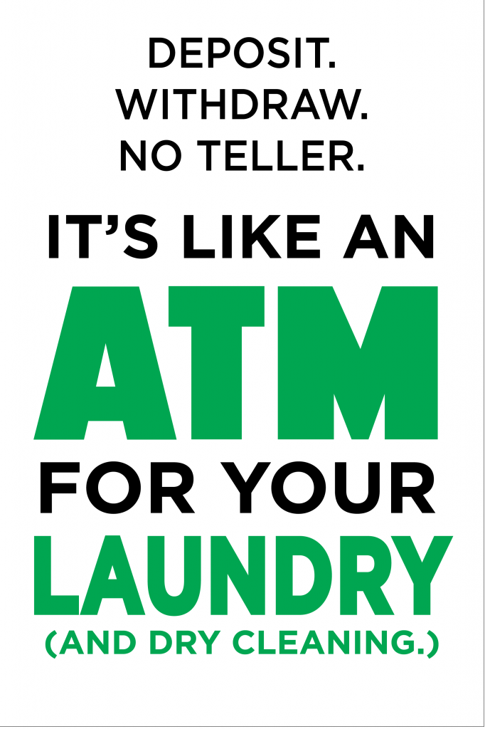 Graphic of Drop N Lock ATM for Your Laundry Sign